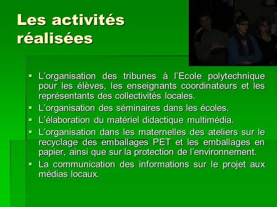 Les activités réalisées Lorganisation des tribunes à lEcole polytechnique pour les élèves, les enseignants coordinateurs et les représentants des coll