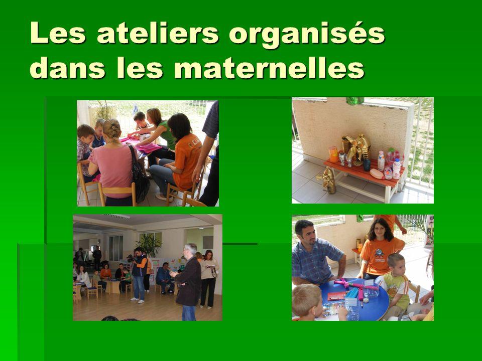 Les ateliers organisés dans les maternelles
