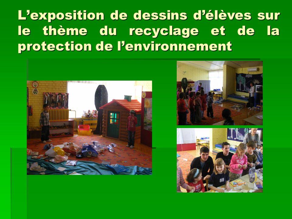 Lexposition de dessins délèves sur le thème du recyclage et de la protection de lenvironnement