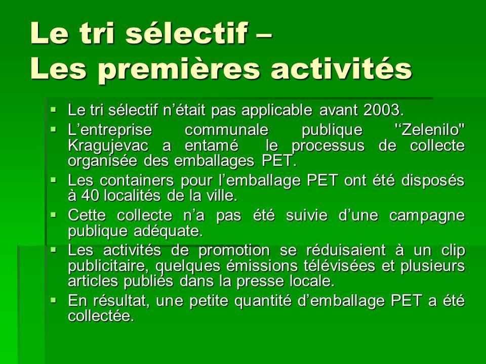 Le tri sélectif – Les premières activités Le tri sélectif nétait pas applicable avant 2003. Le tri sélectif nétait pas applicable avant 2003. Lentrepr