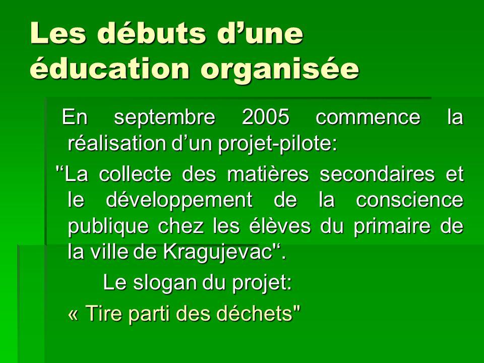 Les débuts dune éducation organisée En septembre 2005 commence la réalisation dun projet-pilote: En septembre 2005 commence la réalisation dun projet-