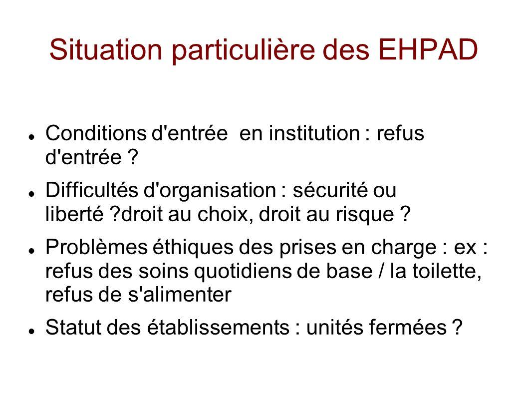 Situation particulière des EHPAD Conditions d'entrée en institution : refus d'entrée ? Difficultés d'organisation : sécurité ou liberté ?droit au choi