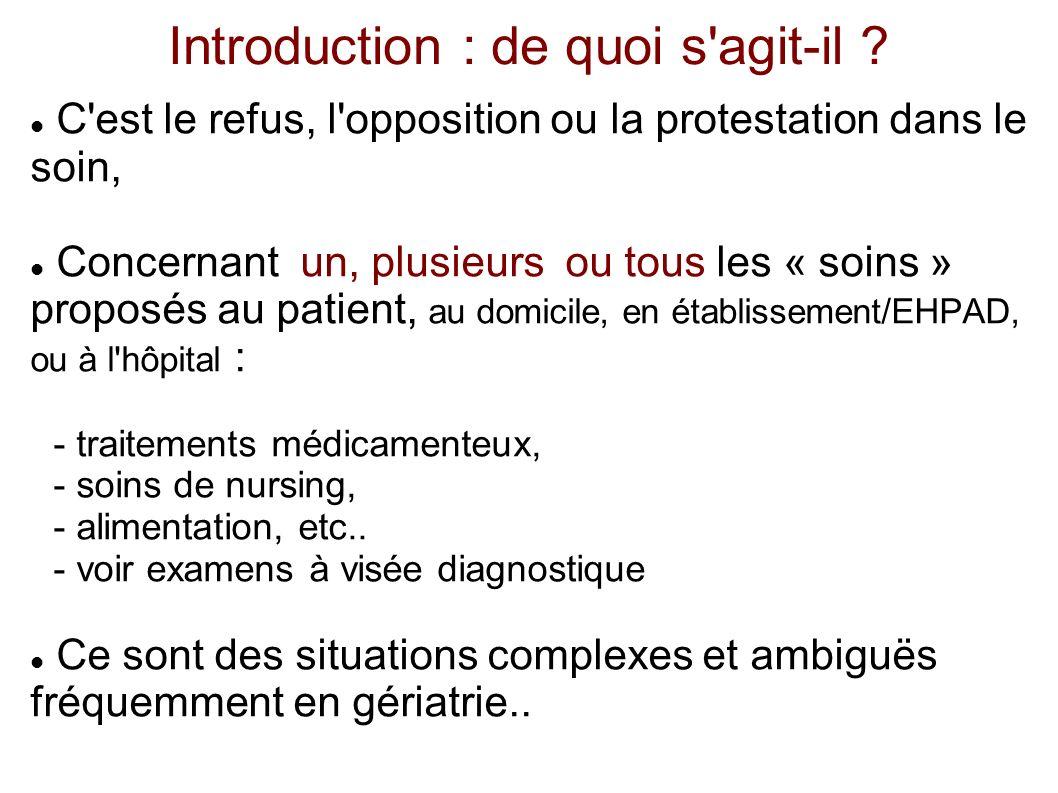Introduction : de quoi s'agit-il ? C'est le refus, l'opposition ou la protestation dans le soin, Concernant un, plusieurs ou tous les « soins » propos