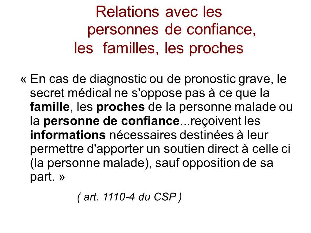 Relations avec les personnes de confiance, les familles, les proches « En cas de diagnostic ou de pronostic grave, le secret médical ne s'oppose pas à