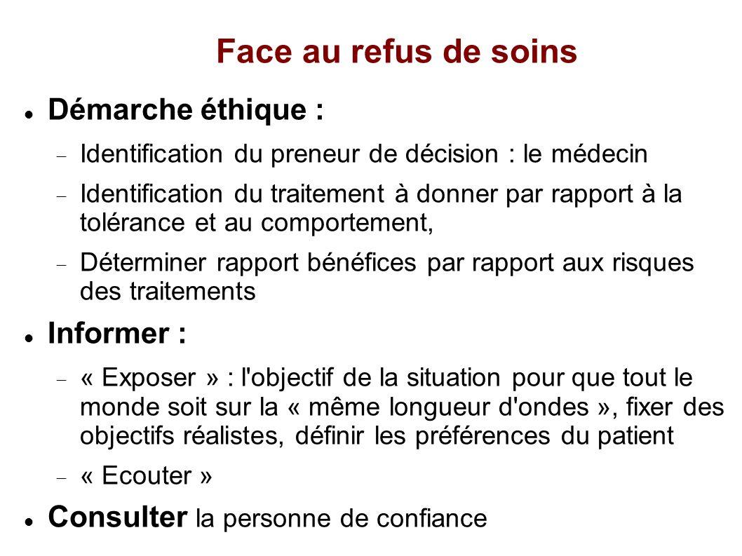 Face au refus de soins Démarche éthique : Identification du preneur de décision : le médecin Identification du traitement à donner par rapport à la to