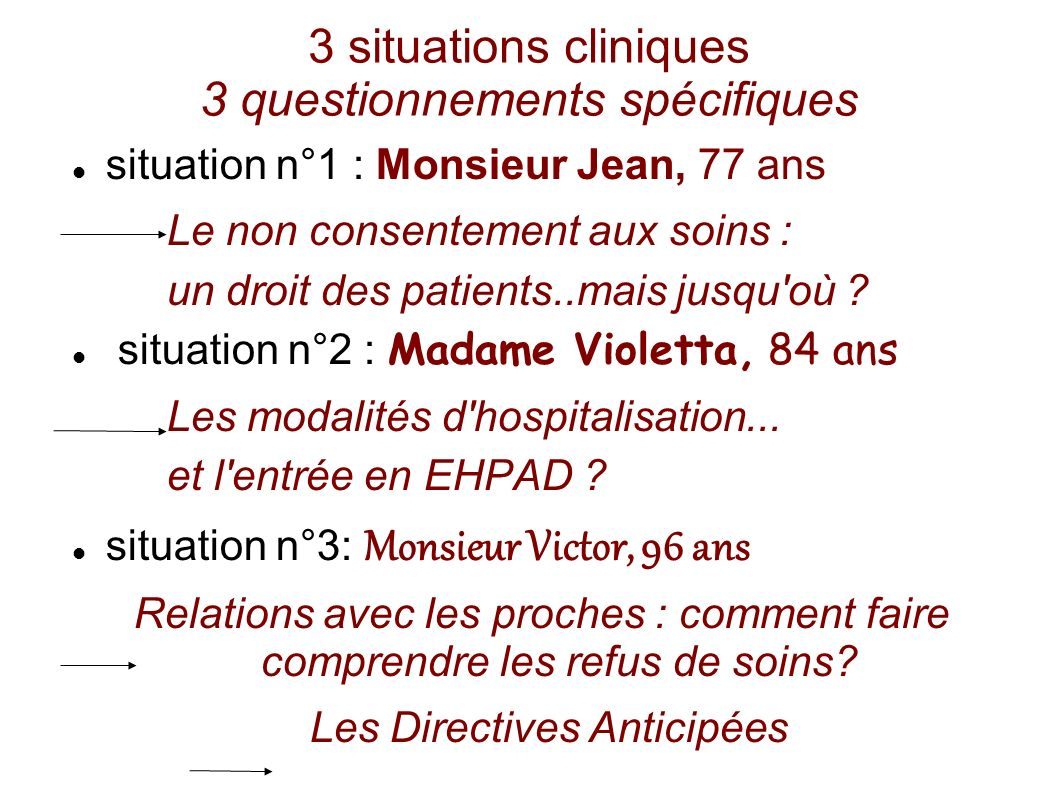 3 situations cliniques 3 questionnements spécifiques situation n°1 : Monsieur Jean, 77 ans Le non consentement aux soins : un droit des patients..mais