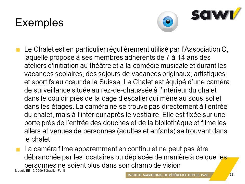 Module EE - © 2009 Sébastien Fanti 22 Exemples Le Chalet est en particulier régulièrement utilisé par lAssociation C, laquelle propose à ses membres a