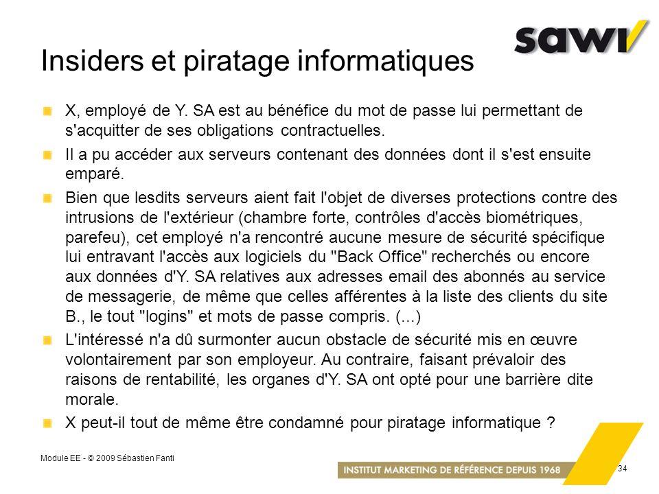 Module EE - © 2009 Sébastien Fanti 34 Insiders et piratage informatiques X, employé de Y. SA est au bénéfice du mot de passe lui permettant de s'acqui