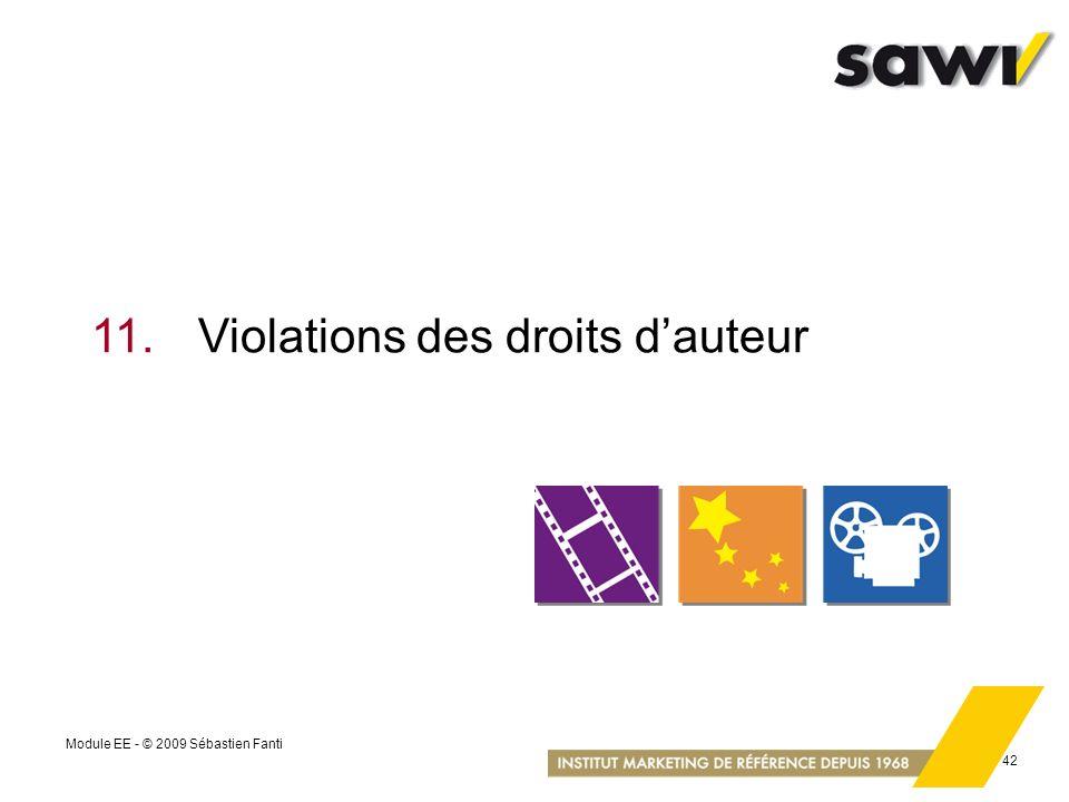 Module EE - © 2009 Sébastien Fanti 42 11.Violations des droits dauteur
