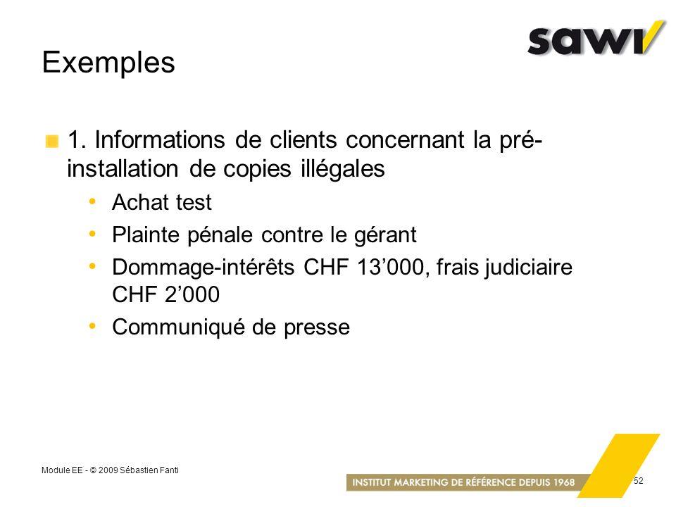 Module EE - © 2009 Sébastien Fanti 52 Exemples 1. Informations de clients concernant la pré- installation de copies illégales Achat test Plainte pénal