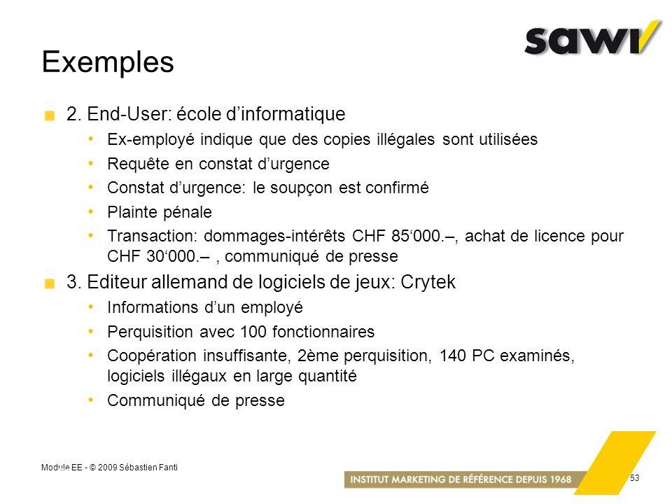 Module EE - © 2009 Sébastien Fanti 53 Exemples 2. End-User: école dinformatique Ex-employé indique que des copies illégales sont utilisées Requête en