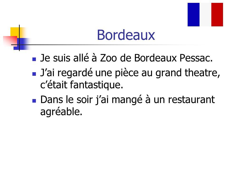 Bordeaux Je suis allé à Zoo de Bordeaux Pessac. Jai regardé une pièce au grand theatre, cétait fantastique. Dans le soir jai mangé à un restaurant agr
