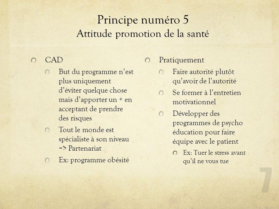 Principe numéro 5 Attitude promotion de la santé CAD But du programme nest plus uniquement déviter quelque chose mais dapporter un + en acceptant de p