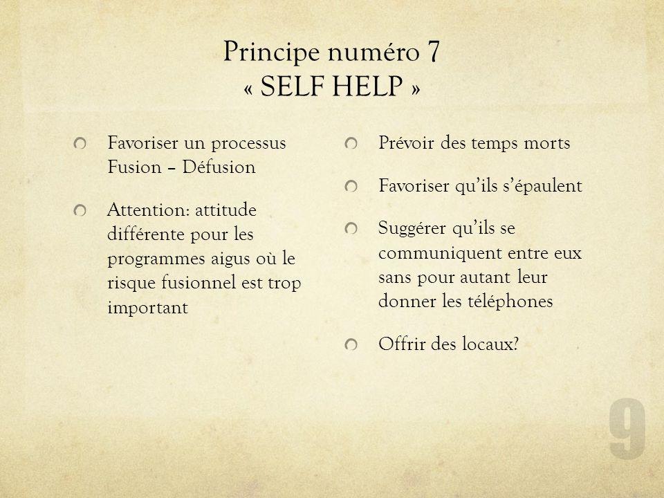 Principe numéro 7 « SELF HELP » Favoriser un processus Fusion – Défusion Attention: attitude différente pour les programmes aigus où le risque fusionn