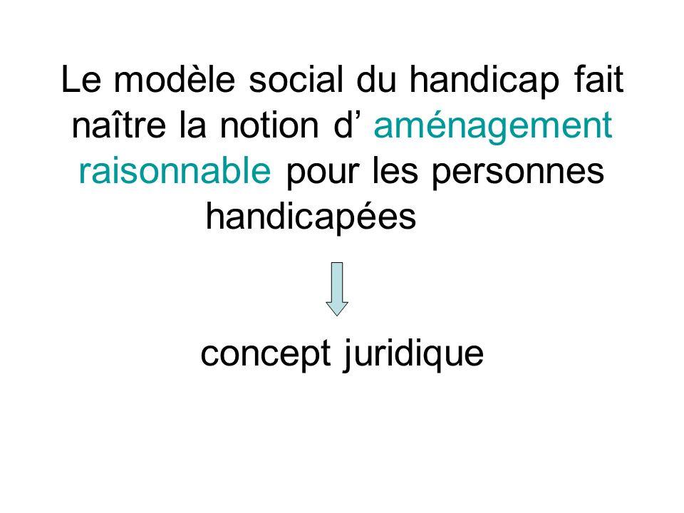 Le modèle social du handicap fait naître la notion d aménagement raisonnable pour les personnes handicapées concept juridique