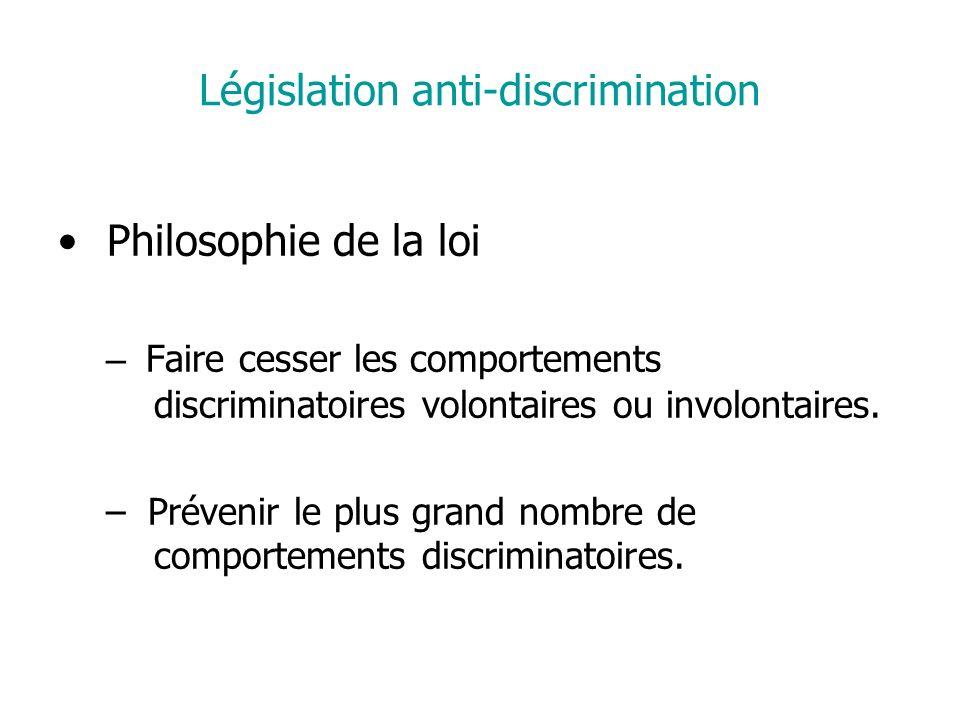Législation anti-discrimination Philosophie de la loi – Faire cesser les comportements discriminatoires volontaires ou involontaires.