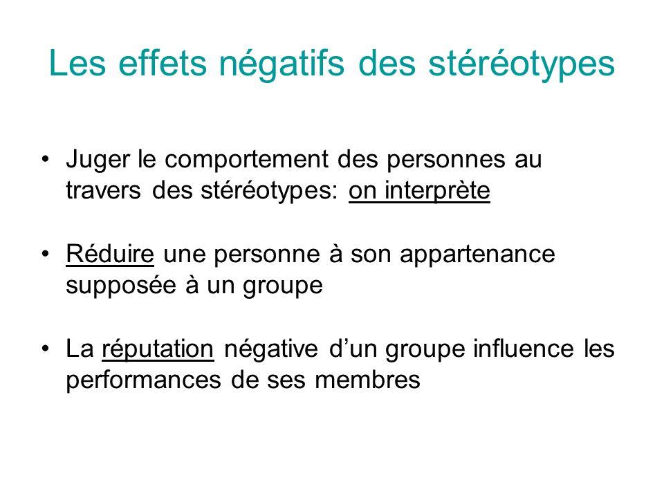 Les effets négatifs des stéréotypes Juger le comportement des personnes au travers des stéréotypes: on interprète Réduire une personne à son appartenance supposée à un groupe La réputation négative dun groupe influence les performances de ses membres