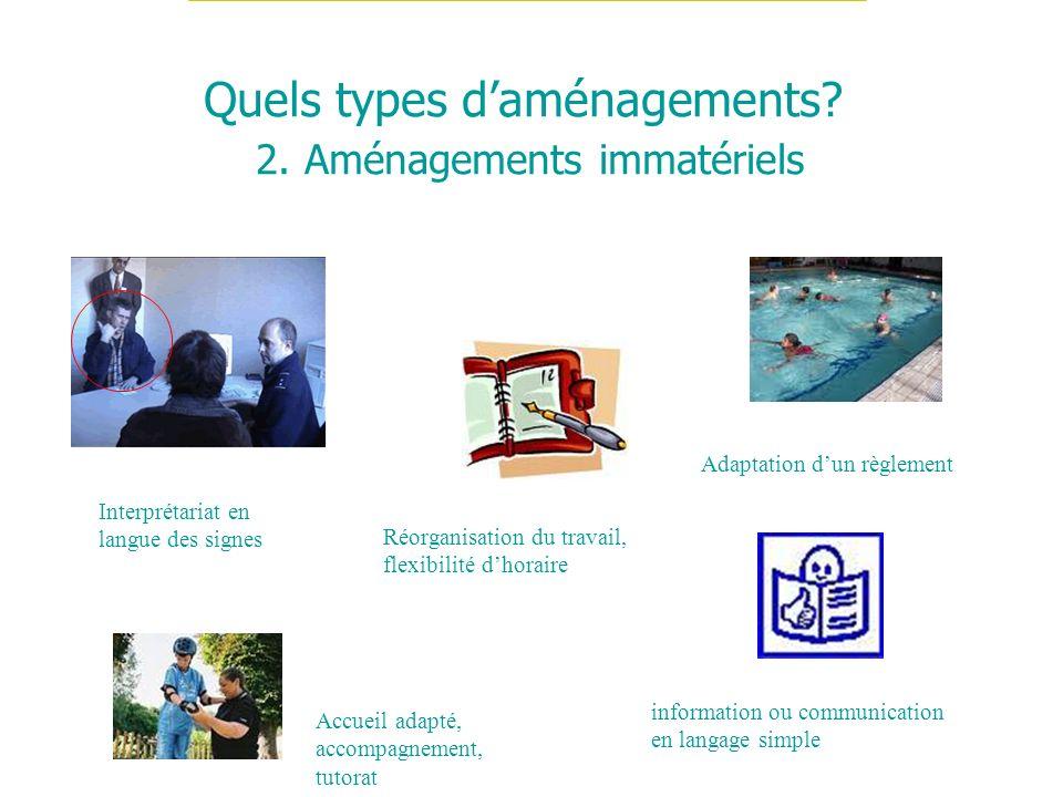 Quels types daménagements? 2. Aménagements immatériels Réorganisation du travail, flexibilité dhoraire Adaptation dun règlement Interprétariat en lang