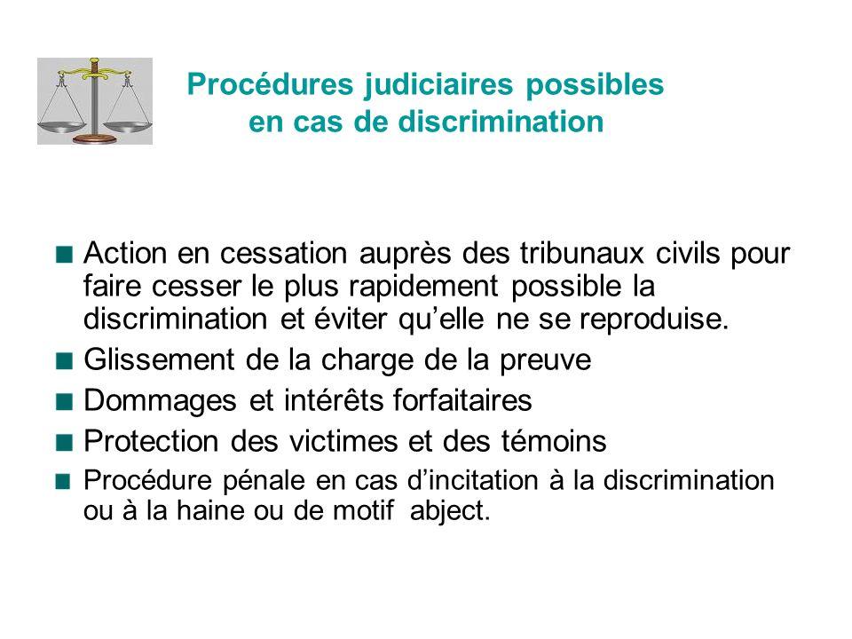 Procédures judiciaires possibles en cas de discrimination Action en cessation auprès des tribunaux civils pour faire cesser le plus rapidement possible la discrimination et éviter quelle ne se reproduise.