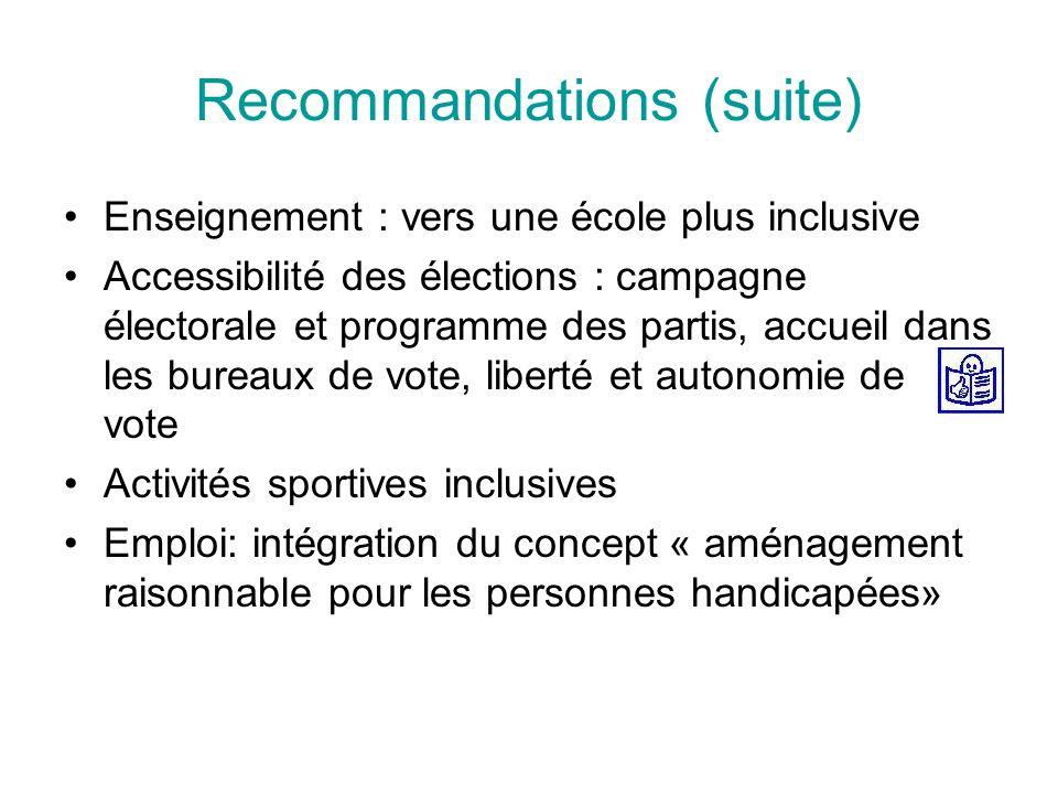 Recommandations (suite) Enseignement : vers une école plus inclusive Accessibilité des élections : campagne électorale et programme des partis, accueil dans les bureaux de vote, liberté et autonomie de vote Activités sportives inclusives Emploi: intégration du concept « aménagement raisonnable pour les personnes handicapées»