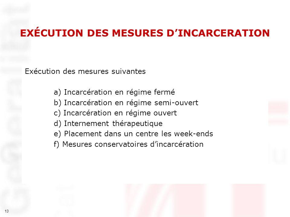 13 EXÉCUTION DES MESURES DINCARCERATION Exécution des mesures suivantes a) Incarcération en régime fermé b) Incarcération en régime semi-ouvert c) Inc
