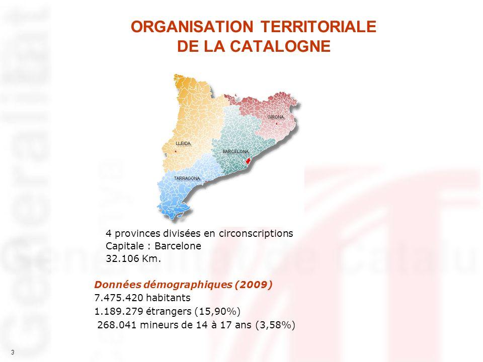 3 ORGANISATION TERRITORIALE DE LA CATALOGNE 4 provinces divisées en circonscriptions Capitale : Barcelone 32.106 Km. Données démographiques (2009) 7.4