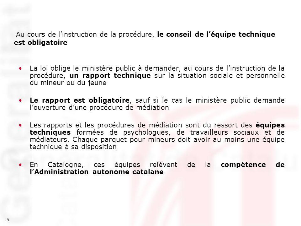 9 Au cours de linstruction de la procédure, le conseil de léquipe technique est obligatoire La loi oblige le ministère public à demander, au cours de