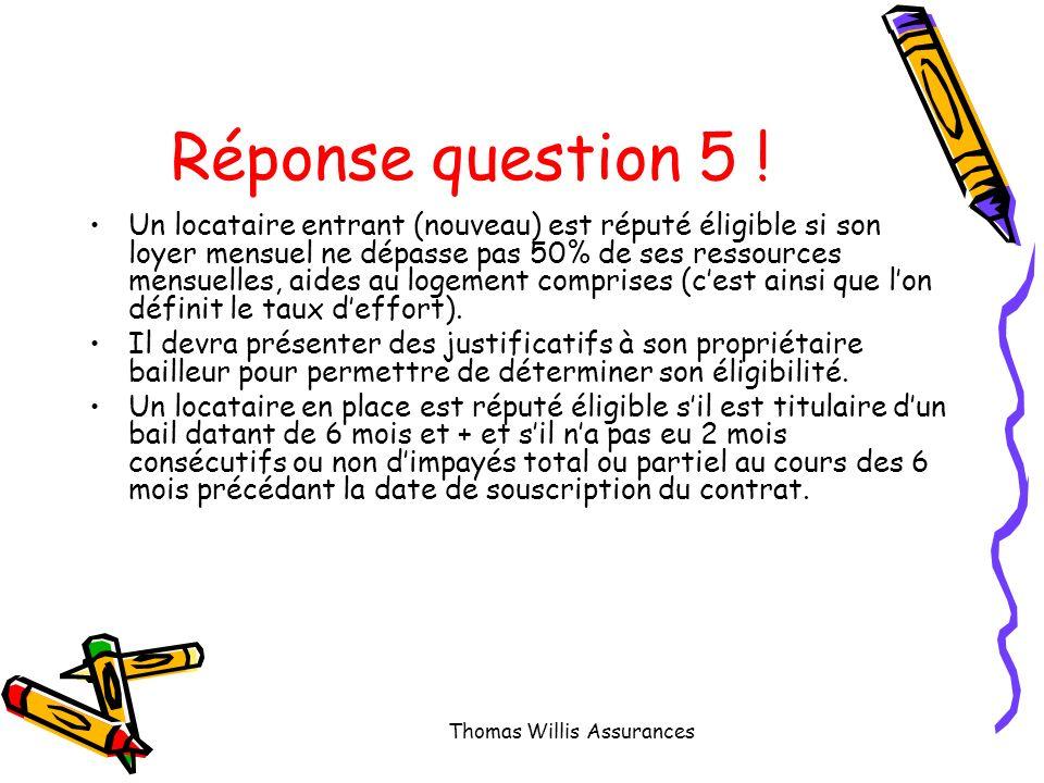 Question 5 : Selon vous quels sont les critères déligibilité du locataire au contrat GRL .