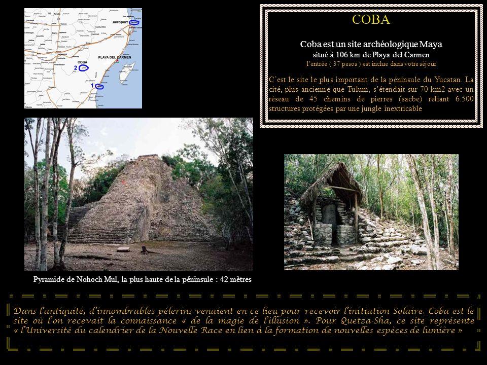 COBA Coba est un site archéologique Maya situé à 106 km de Playa del Carmen lentrée ( 37 pesos ) est inclue dans votre séjour Cest le site le plus imp