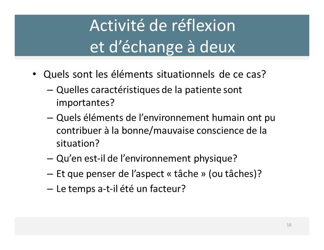 Activité de réflexion et déchange à deux 18 Quels sont les éléments situationnels de ce cas? – Quelles caractéristiques de la patiente sont importante