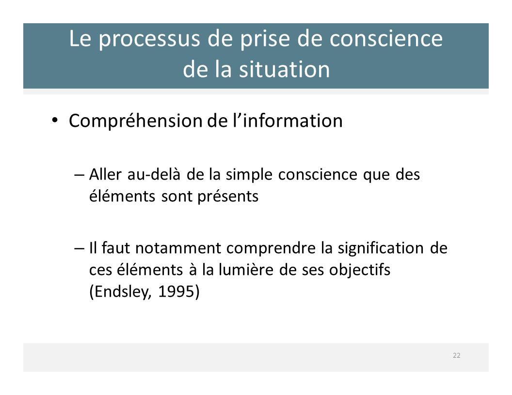 Le processus de prise de conscience de la situation 22 Compréhension de linformation – Aller audelà de la simple conscience que des éléments sont prés