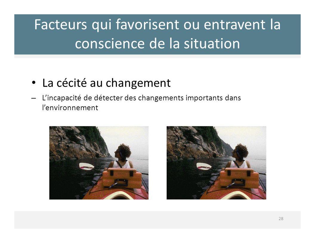 Facteurs qui favorisent ou entravent la conscience de la situation La cécité au changement – Lincapacité de détecter des changements importants dans l