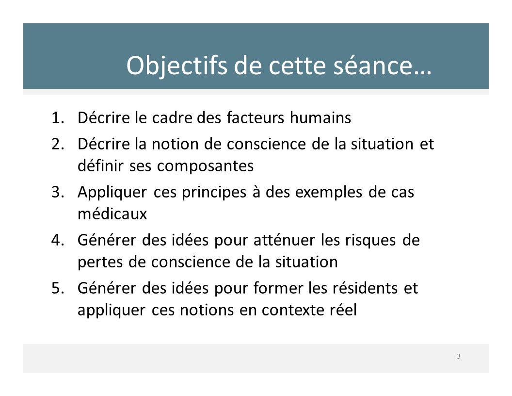 Objectifs de cette séance… 3 1.Décrire le cadre des facteurs humains 2.Décrire la notion de conscience de la situation et définir ses composantes 3.Ap