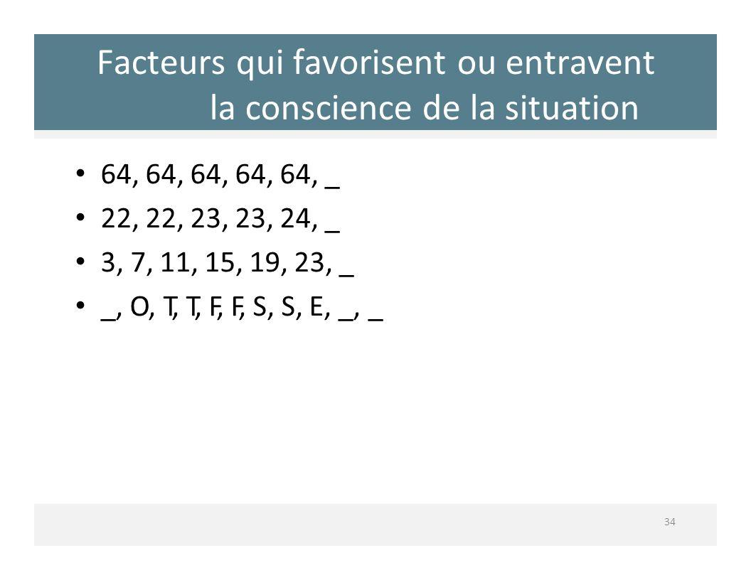 Facteurs qui favorisent ou entravent la conscience de la situation 34 64, 64, 64, 64, 64, _ 22, 22, 23, 23, 24, _ 3, 7, 11, 15, 19, 23, _ _, O, T, T,
