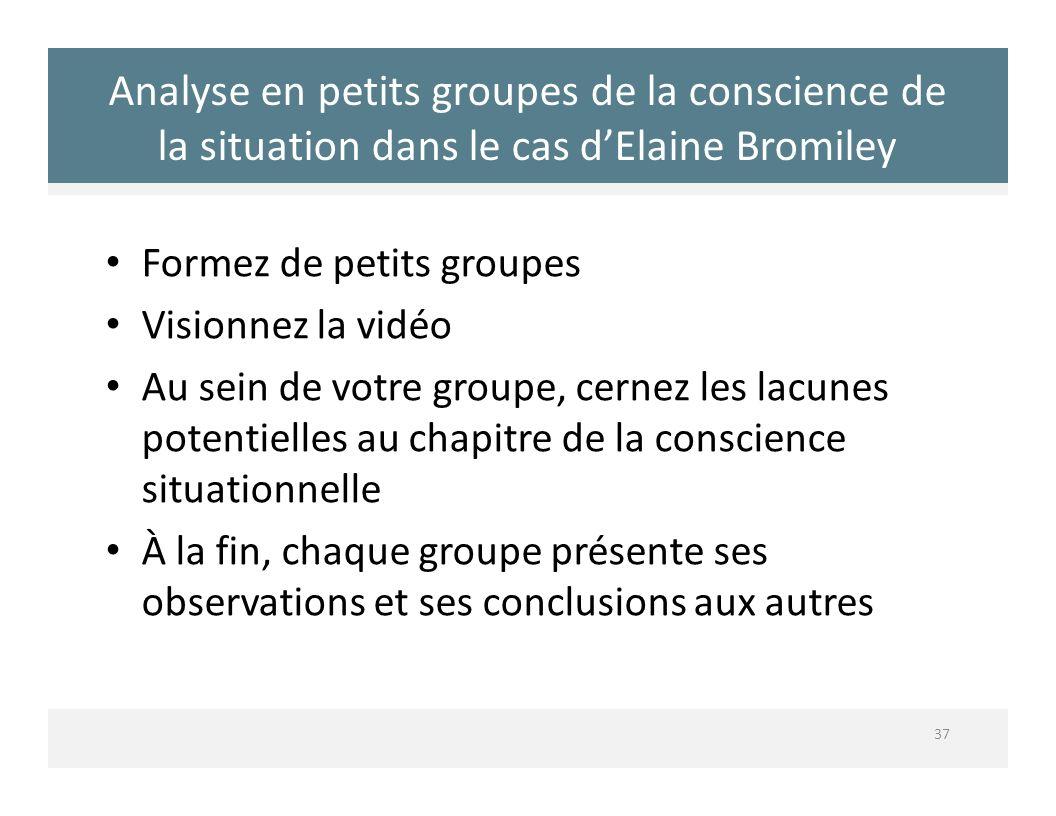 Analyse en petits groupes de la conscience de la situation dans le cas dElaine Bromiley 37 Formez de petits groupes Visionnez la vidéo Au sein de votr
