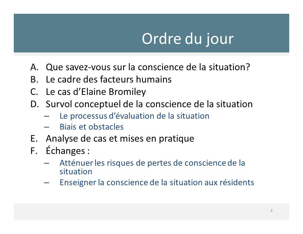 Ordre du jour 4 A.Que savezvous sur la conscience de la situation? B.Le cadre des facteurs humains C.Le cas dElaine Bromiley D.Survol conceptuel de la