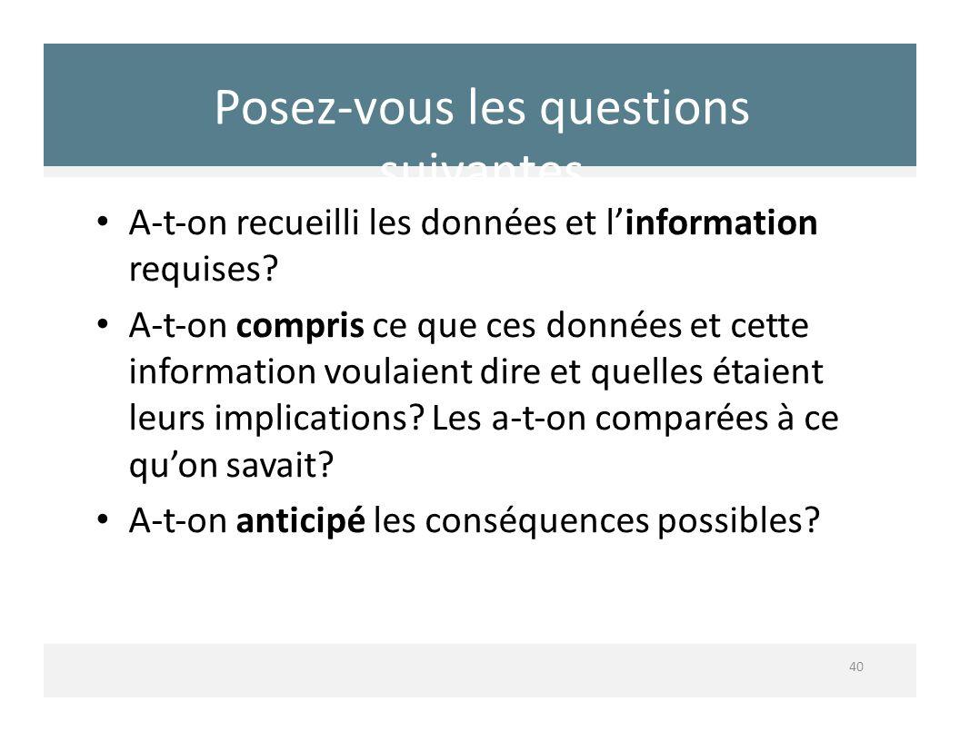 Posezvous les questions suivantes 40 Aton recueilli les données et linformation requises? Aton compris ce que ces données et cette information voulaie