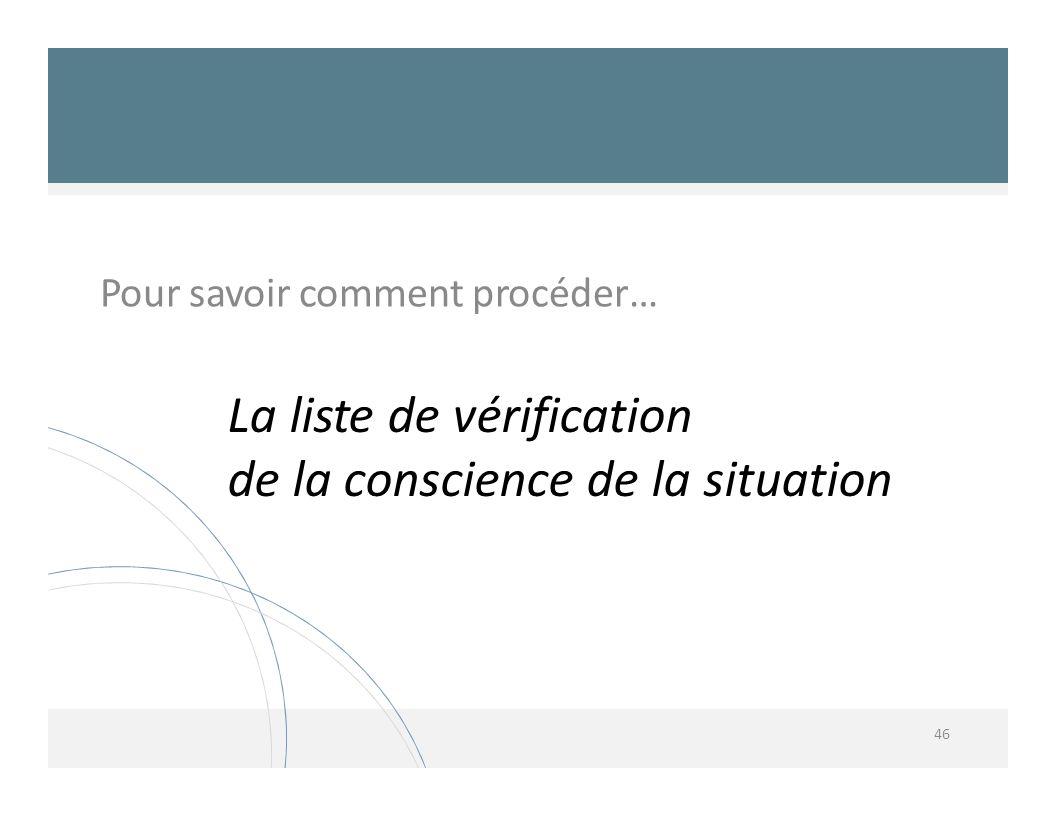 La liste de vérification de la conscience de la situation 46 Pour savoir comment procéder…