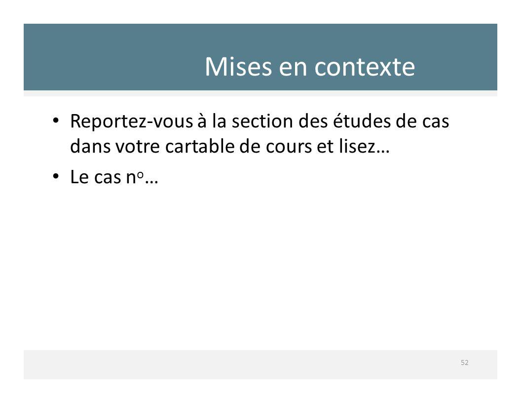Mises en contexte 52 Reportezvous à la section des études de cas dans votre cartable de cours et lisez… Le cas n o …