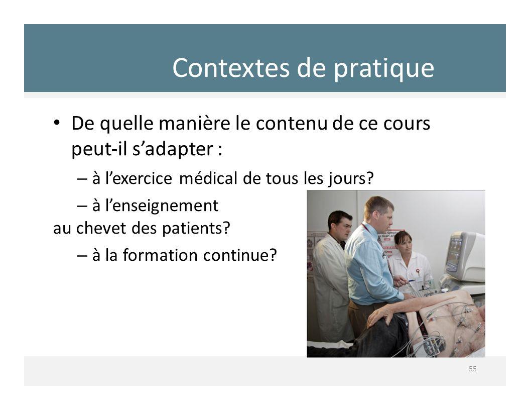 Contextes de pratique De quelle manière le contenu de ce cours peutil sadapter : – à lexercice médical de tous les jours? – à lenseignement au chevet