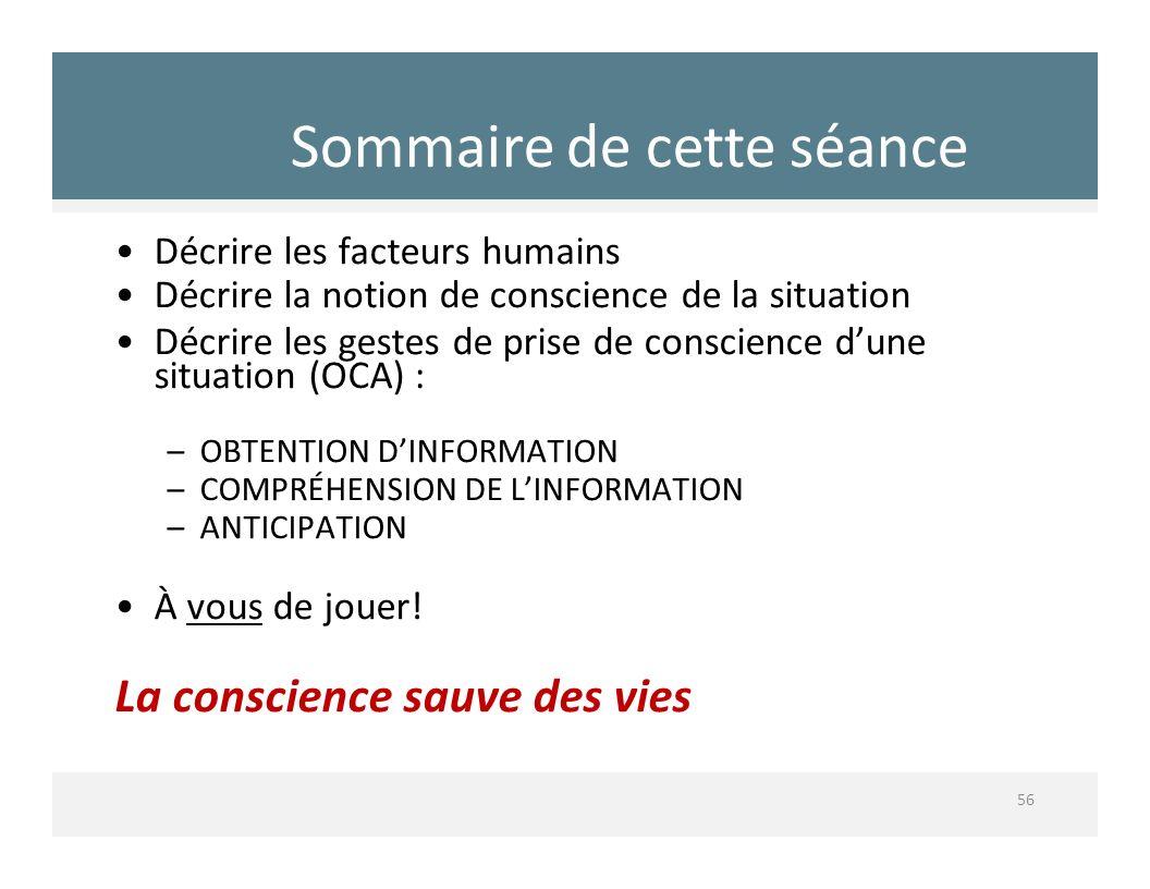 Sommaire de cette séance 56 Décrire les facteurs humains Décrire la notion de conscience de la situation Décrire les gestes de prise de conscience dun
