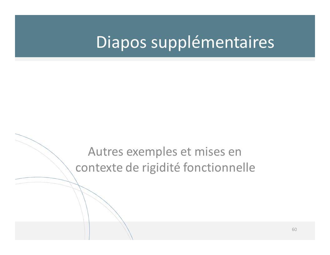 Autres exemples et mises en contexte de rigidité fonctionnelle 60 Diapos supplémentaires