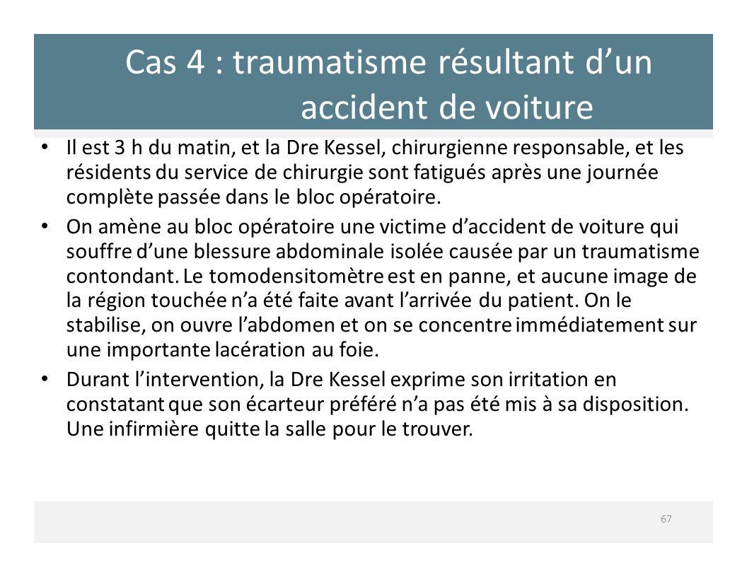 Cas 4 : traumatisme résultant dun accident de voiture 67 Il est 3 h du matin, et la Dre Kessel, chirurgienne responsable, et les résidents du service