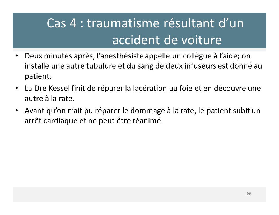 Cas 4 : traumatisme résultant dun accident de voiture 69 Deux minutes après, lanesthésiste appelle un collègue à laide; on installe une autre tubulure