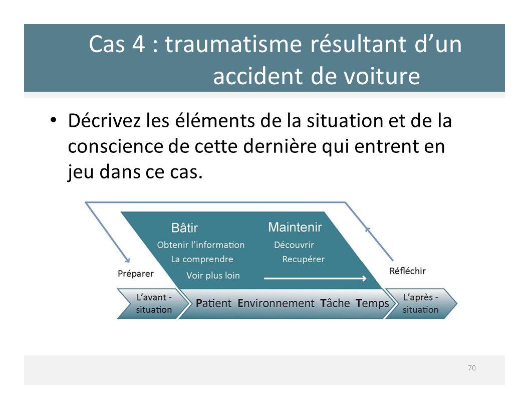 Cas 4 : traumatisme résultant dun accident de voiture Décrivez les éléments de la situation et de la conscience de cette dernière qui entrent en jeu d