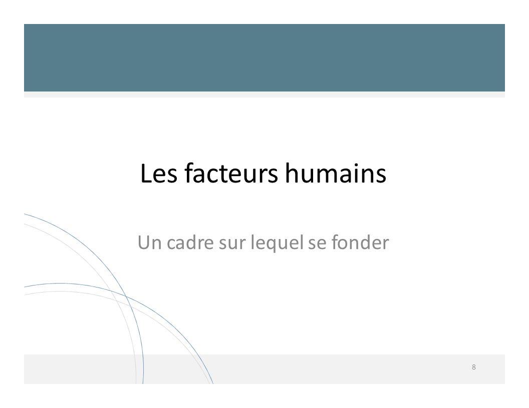 Les facteurs humains 8 Un cadre sur lequel se fonder