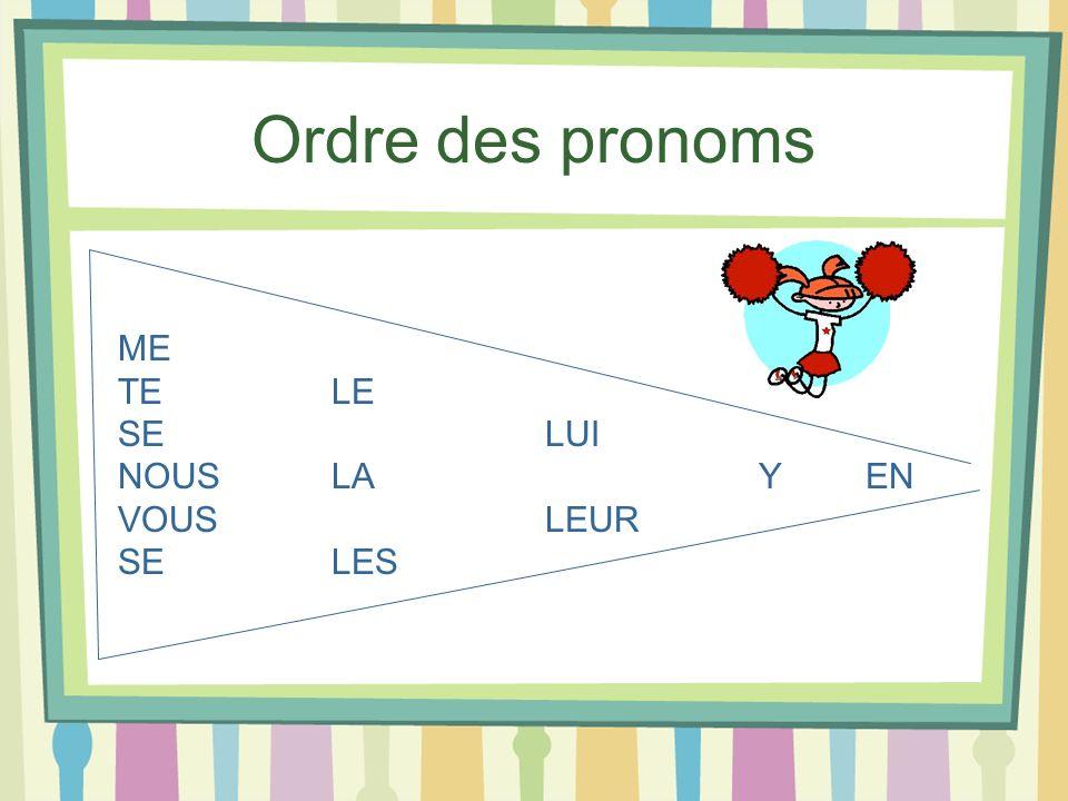 Ordre des pronoms ME TELE SELUI NOUSLAY EN VOUSLEUR SELES