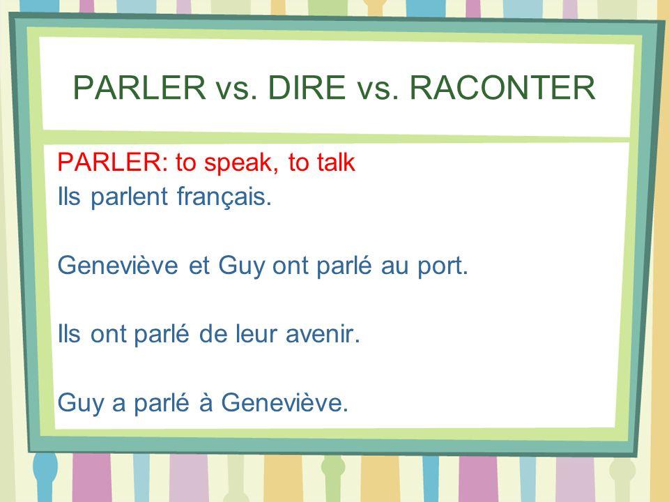 PARLER vs. DIRE vs. RACONTER PARLER: to speak, to talk Ils parlent français. Geneviève et Guy ont parlé au port. Ils ont parlé de leur avenir. Guy a p