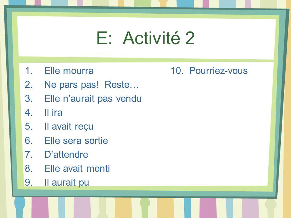 E: Activité 2 1.Elle mourra10. Pourriez-vous 2.Ne pars pas! Reste… 3.Elle naurait pas vendu 4.Il ira 5.Il avait reçu 6.Elle sera sortie 7.Dattendre 8.