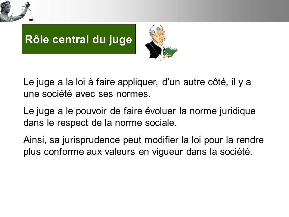 Rôle central du juge Le juge a la loi à faire appliquer, dun autre côté, il y a une société avec ses normes.